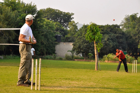 Photo of Dale playing cricket.