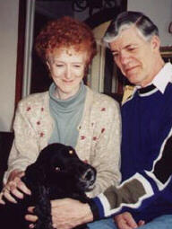 Photo of Don and Carol with dog.