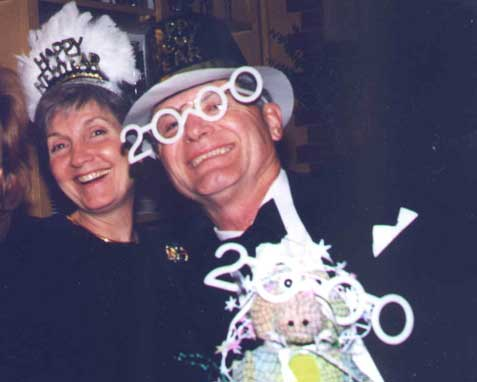 Photo of Sherry, Richard, and Rockin' Croc on New Year, 2000.  (c) 2001 Richard Loller.