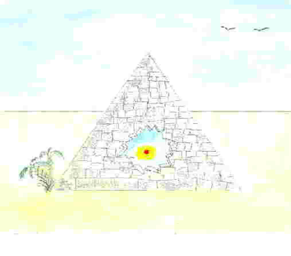 Cartoon image of pyramid with treasure inside.