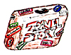 Drawing of a suitcase covered with names of exotic cities.