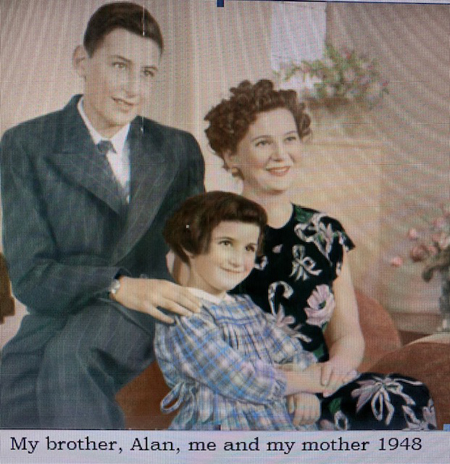 Photo of Valerie, her brother and her mother, 1948.