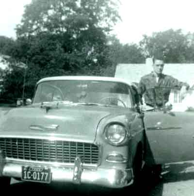 Photo of William and his 1955 Chevvy.